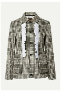Comme des Garçons Comme des Garçons - Ruffled Cotton-trimmed Houndstooth Wool Jacket - Black