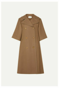 Chloé - Oversized Double-breasted Wool And Silk-blend Twill Coat - Brown