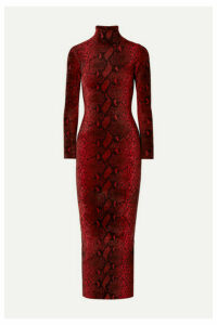Alexander Wang - Snake-print Chenille Turtleneck Midi Dress - Red