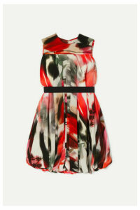 Alexander McQueen - Cape-effect Printed Silk-blend Dress - Red