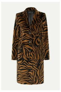 Nili Lotan - Rosalin Zebra-print Cotton-velvet Coat - Brown