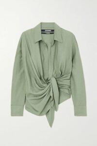 Chloé - Asymmetric Pleated Stretch Wool-twill Midi Dress - Beige