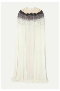 Oscar de la Renta - Cape-effect Tulle And Sequined Crepe Gown - Ivory