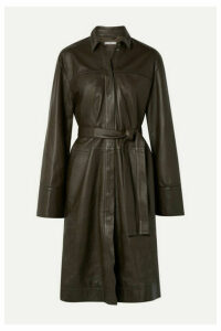 Co - Belted Leather Coat - Army green