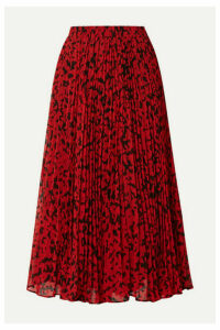 MICHAEL Michael Kors - Pleated Printed Fil Coupé Georgette Midi Skirt - Red