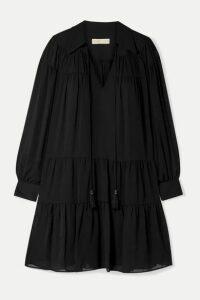 MICHAEL Michael Kors - Tasseled Tiered Crepon Mini Dress - Black