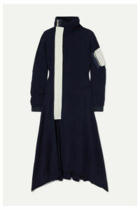 Sacai - Nylon-trimmed Wool Turtleneck Midi Dress - Navy