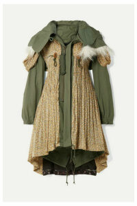 Junya Watanabe - Faux Fur-trimmed Cotton-blend Canvas And Floral-print Satin-jacquard Coat - Army green