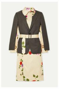 Junya Watanabe - Layered Wool And Floral-print Satin-jacquard Jacket - Gray