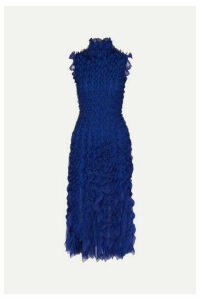 Alexander McQueen - Ruffled Lace And Silk-trimmed Knitted Midi Dress - Royal blue