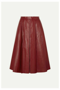 Alexander McQueen - Pleated Leather Skirt - Red