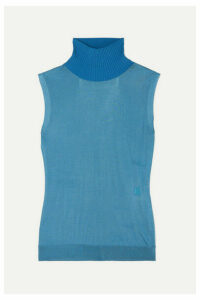 Chloé - Wool-trimmed Knitted Turtleneck Sweater - Blue
