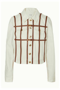 Burberry - Leather-trimmed Denim Jacket - Ivory