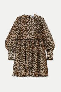 GANNI - Plissé Leopard-print Georgette Mini Dress - Leopard print