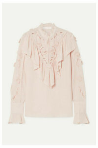 See By Chloé - Ruffled Broderie Anglaise Crepe De Chine Blouse - Pastel pink