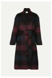 Vince - Belted Checked Brushed Wool-blend Coat - Plum