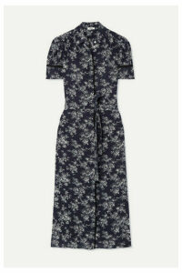 Jason Wu - Belted Floral-print Silk Crepe De Chine Midi Dress - Navy