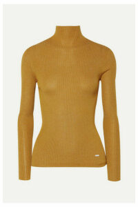 Akris - Metallic Ribbed Cashmere-blend Turtleneck Top - Saffron