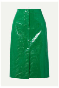 Tibi - Croc-effect Faux Patent-leather Midi Skirt - Green