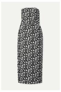 Brandon Maxwell - Strapless Frayed Printed Silk Midi Dress - Black