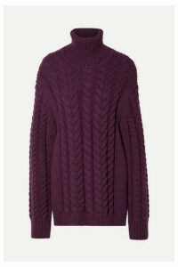 Tibi - Open-back Cable-knit Wool-blend Turtleneck Sweater - Burgundy