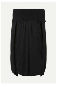 Burberry - Cape-effect Crepe De Chine And Ribbed-knit Mini Dress - Black