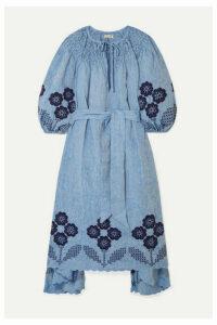 Innika Choo - Hugh Jesmok Embroidered Broderie Anglaise Linen-chambray Midi Dress - Blue
