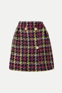 Versace - Checked Wool-blend Tweed Mini Skirt - Pink