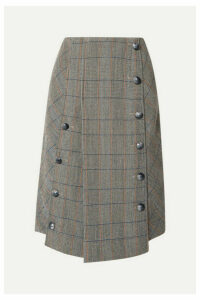 Chloé - Button-embellished Checked Wool-blend Midi Skirt - Gray