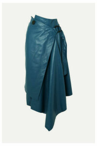 Petar Petrov - Draped Leather Wrap Midi Skirt - Blue