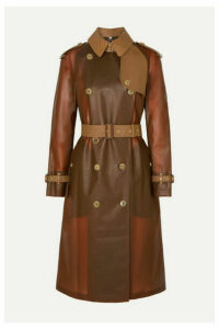 Burberry - Croc-effect Leather And Cotton-trimmed Pvc Trench Coat - Brown