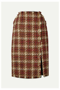 Versace - Embellished Wool-blend Tweed Midi Skirt - Brown