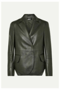 Akris - Denada Double-breasted Leather Blazer - Dark green