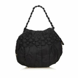 Prada Black Gathered Nylon Chain Shoulder Bag