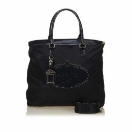 Prada Blue Logo Nylon Tote Bag