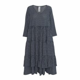 McVERDI - Dress With Ruffles In Checkered Cotton