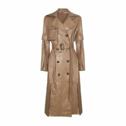 DIANA ARNO - Gisele Coated Trench Coat In Glossy Beige