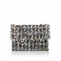 Kurt Geiger London Tweed Lg Kensington X Bag - Grey Embellished Tweed Shoulder Bag