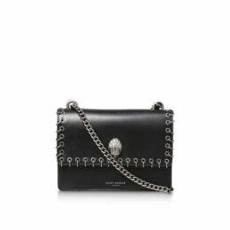 Kurt Geiger London Shoreditch Ring Detail Bag - Black Leather Eyelet Ring Detail Cross Body Bag