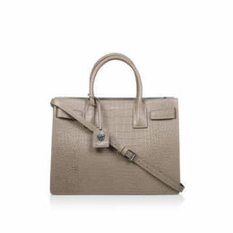Kurt Geiger London Shoreditch Tote - Taupe Leather Structured Tote Bag