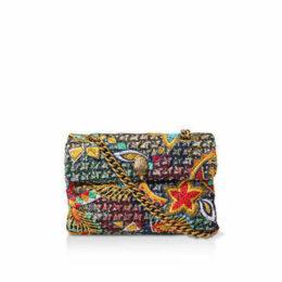 Kurt Geiger London Tweed Kensington X Bag - Multi-Coloured Tweed Embroidered Shoulder Bag