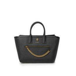 Kurt Geiger London Shoreditch Shopper - Black Leather Shopper Bag With Chain Detail