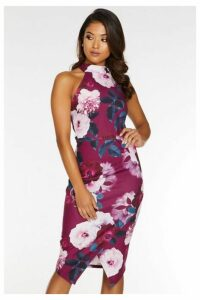 Quiz Petite Berry Floral Print High Neck Midi Dress