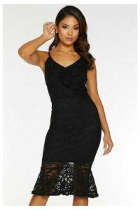 Quiz Petite Black Lace V Neck Frill Midi Dress