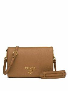 Prada logo-embellished shoulder bag - Brown