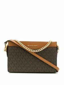 Michael Michael Kors monogram chain shoulder bag - Brown