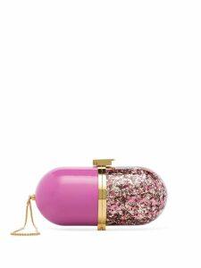 Marzook Pill glitter-effect clutch bag - Pink