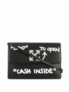 Off-White text print cross-body bag - Black