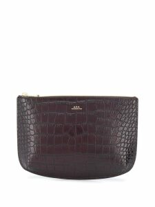 A.P.C. crocodile embossed clutch - Red