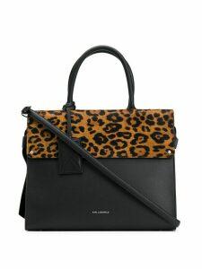 Karl Lagerfeld K/Ikon Leopard Top Handle bag - Black